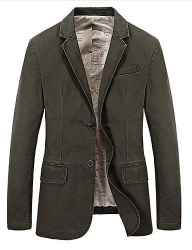 voordelige Herenblazers & kostuums-Heren Blazer Overhemdkraag Polyester Zwart / Leger Groen / Marineblauw