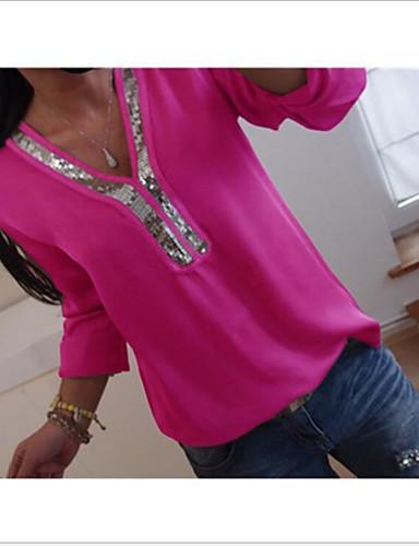 billige Dametopper-V-hals Skjorte Dame - Ensfarget, Paljetter Svart
