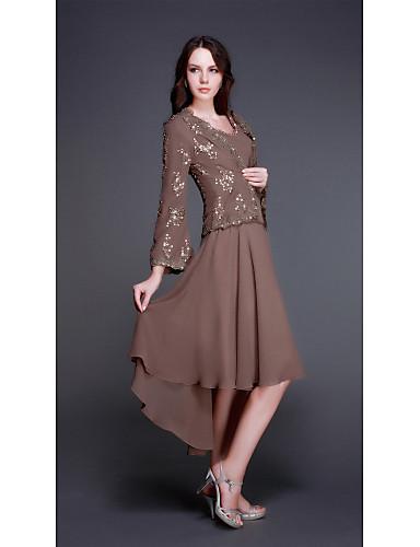 voordelige Wrap Dresses-A-lijn V-hals Asymmetrisch Chiffon Bruidsmoederjurken met Kralen / Appliqués door LAN TING Express / Wrap inbegrepen