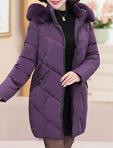 abordables Manteaux & Vestes Femme-Femme Couleur Pleine Doudoune, Polyester Noir / Vin / Violet XL / XXL / XXXL