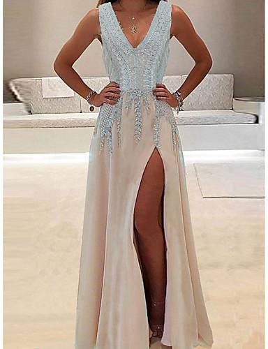 hesapli Maksi Elbiseler-Kadın's Temel Kılıf Elbise - Solid Derin V Maksi