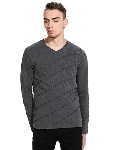 voordelige Heren T-shirts & tanktops-Heren Standaard / Elegant T-shirt Effen / Gestreept Zwart