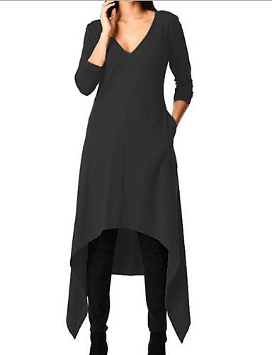 billige Kjoler-Dame Grunnleggende A-linje Kjole - Ensfarget Asymmetrisk