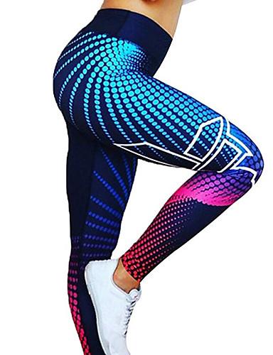 Недорогие Одежда для йоги, бега и фитнеса-Жен. Штаны для йоги Королевский синий Тёмно-синий Виды спорта Цифровой 3D принт Спандекс С высокой талией Велоспорт Колготки Леггинсы Zumba Бег Фитнес Спортивная одежда / Эластичность / Подтяжка