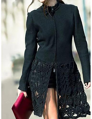 abordables Manteaux & Vestes Femme-Femme Quotidien Basique Automne Longue Manteau, Couleur Pleine Col Arrondi Manches Longues Coton Noir