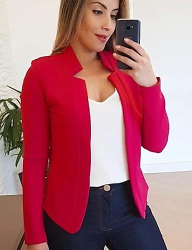 voordelige Damesblazers & jasjes-Dames Blazer, Effen Opstaand Polyester Zwart / Wit / Blozend Roze