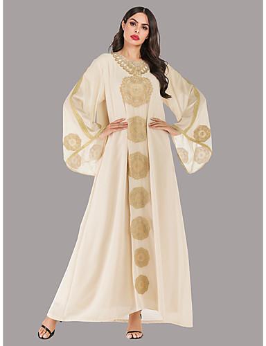 voordelige Maxi-jurken-Dames Vintage Elegant Chiffon Abaya Jurk - Effen, Geborduurd Maxi