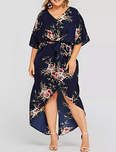 voordelige Grote maten jurken-Dames Street chic Chiffon Jurk - Bloemen, Print Midi Madeliefje