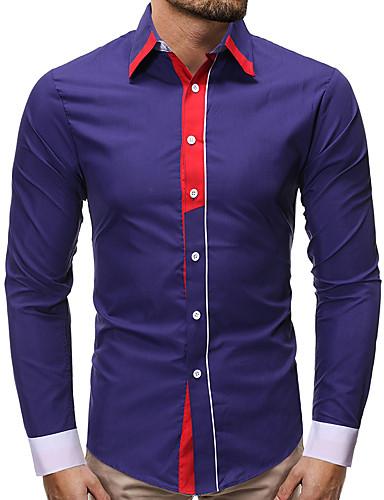 voordelige Herenoverhemden-Heren Standaard / Elegant Overhemd Effen Zwart