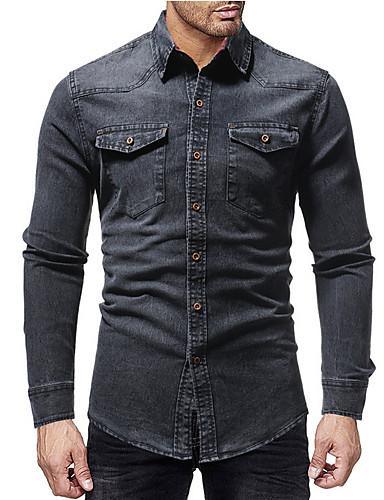 voordelige Herenoverhemden-Heren Standaard Denim Overhemd Effen Zwart