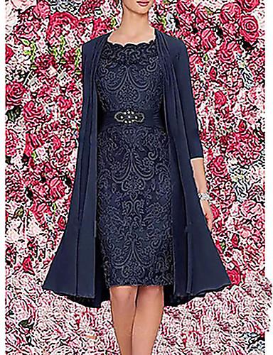 povoljno Moderne haljine-Žene Elegantno Za majku Dvodijelni kroj Haljina - Čipka, Jednobojni Do koljena / Slim