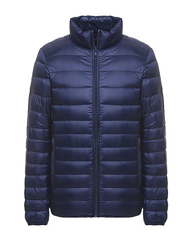 voordelige Heren donsjassen & parka's-Heren Effen Dons, Polyester Zwart / Wijn / Marineblauw US32 / UK32 / EU40 / US38 / UK38 / EU46 / US42 / UK42 / EU50