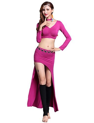 voordelige Shall We®-Buikdans Outfits Dames Opleiding / Prestatie Modaal Ruches / Split Lange mouw Natuurlijk Rokken / Top