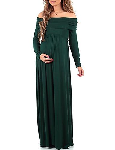voordelige Maxi-jurken-Dames Street chic Elegant Schede Jurk - Effen Maxi