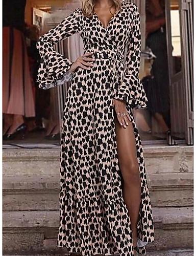 voordelige Maxi-jurken-Dames Standaard Street chic Schede Jurk - Luipaard, Split Maxi