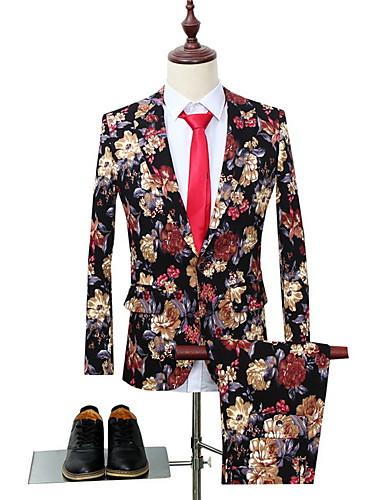 voordelige Herenblazers & kostuums-Heren Pakken, Bloemen Ingesneden revers Polyester Zwart