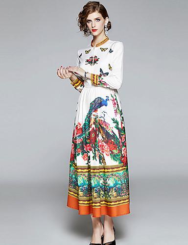 voordelige Maxi-jurken-Dames Vintage Chinoiserie Schede Wijd uitlopend Jurk - dier, Patchwork Print Midi