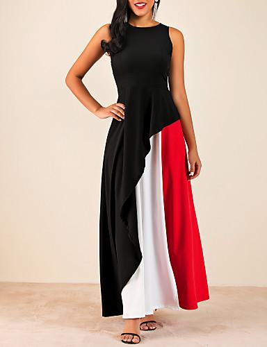 voordelige Maxi-jurken-Dames Grote maten Slank Schede Jurk - Kleurenblok Maxi