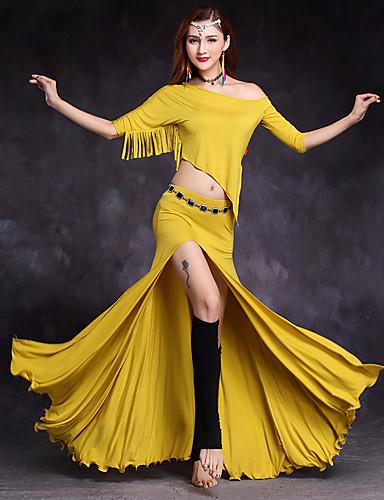 voordelige Shall We®-Buikdans Outfits Dames Opleiding / Prestatie Modaal Geplooid / Kwastje / Split Halve Mouw Natuurlijk Rokken / Top / Sokken