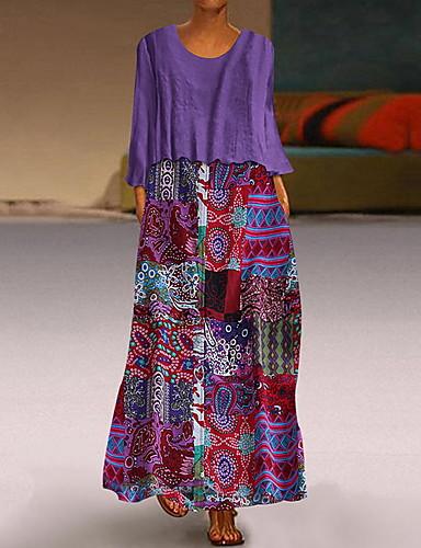 voordelige Maxi-jurken-Dames Elegant Recht Jurk - Geometrisch Maxi