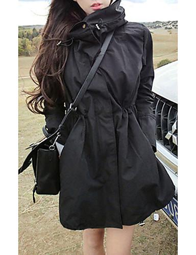 voordelige Damesjassen & trenchcoats-Dames Dagelijks Lente & Herfst Normaal Trenchcoat, Effen Opstaand Lange mouw Polyester Zwart