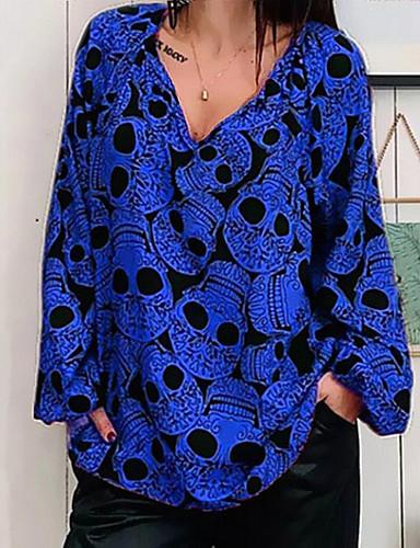 billige Dametopper-Skjorte Dame - Hodeskaller Lyseblå