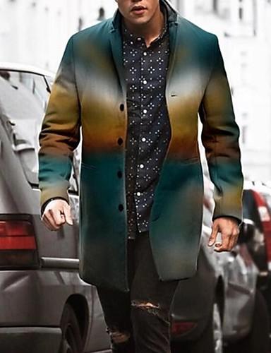 voordelige Herenjacks & jassen-Heren Dagelijks Winter Normaal Jas, Kleurenblok Opstaand Lange mouw Polyester blauw