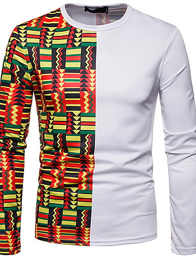 voordelige Heren T-shirts & tanktops-Heren Standaard T-shirt Geometrisch Wit