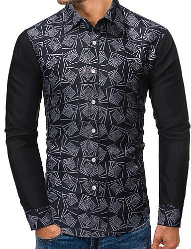voordelige Herenoverhemden-Heren Standaard / Street chic Patchwork / Print Overhemd Kleurenblok / Grafisch Zwart