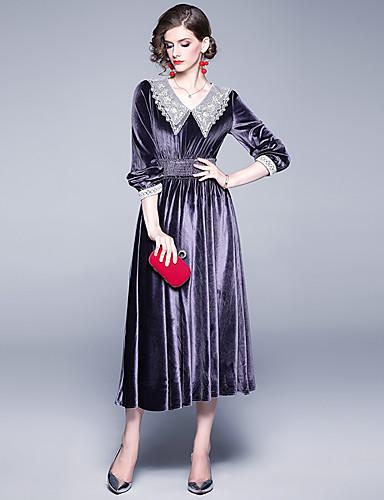 voordelige Maxi-jurken-Dames Elegant Wijd uitlopend Jurk - Kleurenblok, Geplooid Patchwork Maxi