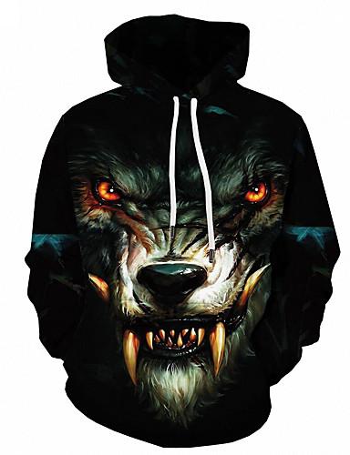 voordelige Herenmode-Heren Standaard Ruimvallend Hoodie Jacket 3D / dier Capuchon
