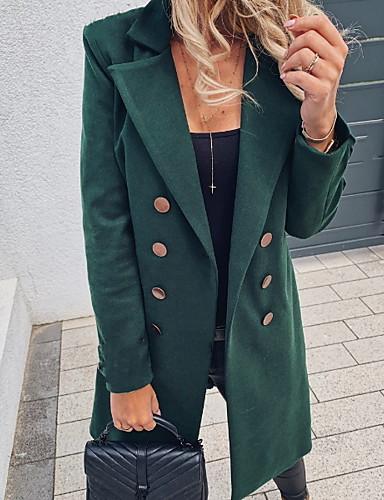 voordelige Damesjassen & trenchcoats-Dames Dagelijks Winter Normaal Trenchcoat, Effen Overhemdkraag Lange mouw Polyester Zwart / Klaver / Khaki