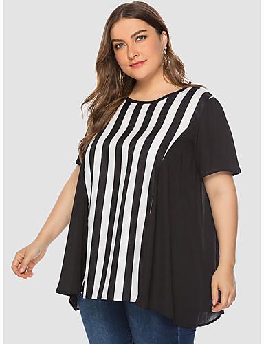 billige Dametopper-T-skjorte Dame - Stripet, Lapper Grunnleggende Svart og hvit Svart