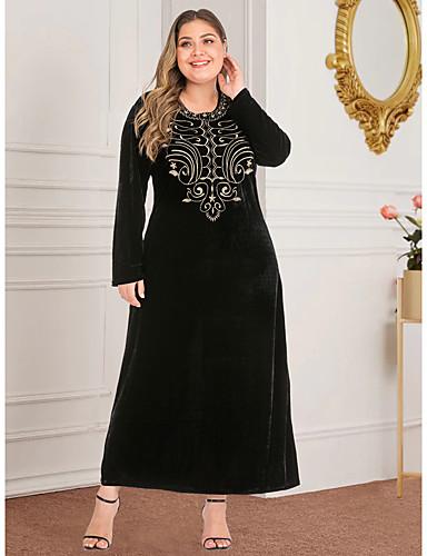 voordelige Maxi-jurken-Dames Vintage Standaard Recht Abaya Jurk - Geometrisch, Split Print Maxi