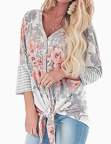 billige Dametopper-Skjorte Dame - Geometrisk Grå