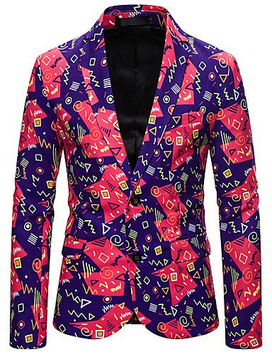 voordelige Herenmode-Heren Blazer, Geometrisch / Kleurenblok Overhemdkraag Polyester Blozend Roze