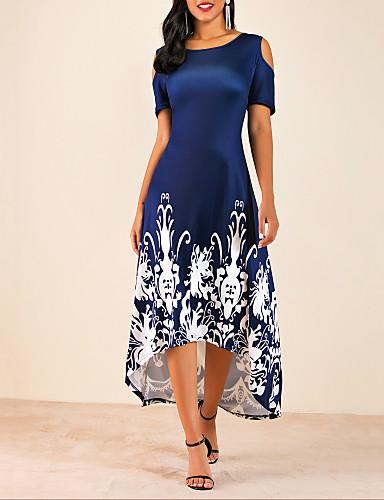 voordelige Grote maten jurken-Dames Grote maten Wijd uitlopend Jurk - Bloemen, Cut Out Print Midi