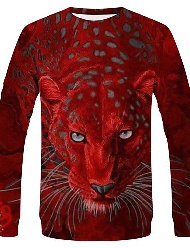 voordelige Heren T-shirts & tanktops-Heren Street chic / overdreven T-shirt Effen / dier Rood
