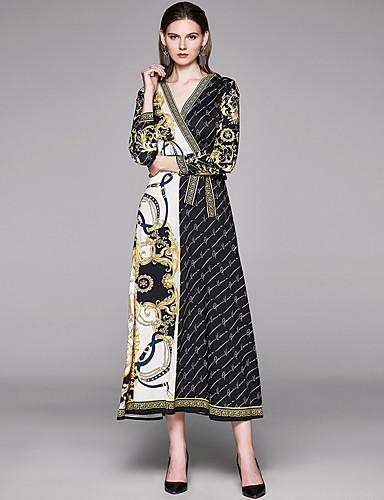 voordelige Maxi-jurken-Dames Vintage Elegant A-lijn Jurk - Ruitjes Letter, Veters Patchwork Print Maxi