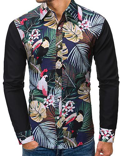 voordelige Herenoverhemden-Heren Standaard / Street chic Patchwork / Print Overhemd Bloemen / Kleurenblok Zwart