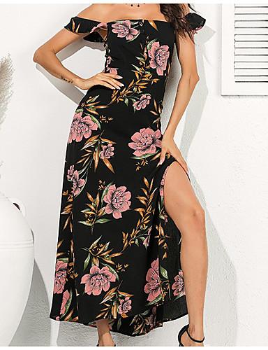 voordelige Maxi-jurken-Dames Chiffon Jurk - Bloemen Maxi