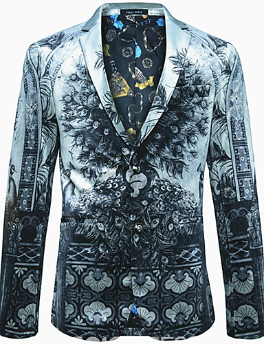 voordelige Herenblazers & kostuums-Heren Blazer, Geometrisch Ingesneden revers Polyester Grijs