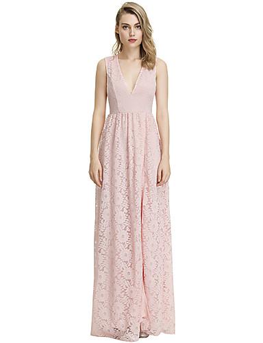 voordelige Maxi-jurken-Dames Schede Jurk - Bloemen, Kant Patchwork Maxi