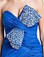 baratos Vestidos de Noite-Sereia Decote Princesa Cauda Escova Chiffon Evento Formal Vestido com Miçangas Cruzado Fenda Frontal de TS Couture®
