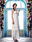 cheap Wedding Dresses-Sheath / Column V Neck Asymmetrical Chiffon Custom Wedding Dresses with Beading Appliques by LAN TING BRIDE®