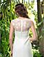 levne Svatební šaty-A-Linie Hranatý Na zem Žoržet Svatební šaty s Krajka Nabírané po stranách podle LAN TING BRIDE®