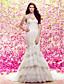 저렴한 웨딩 드레스-트럼펫 / 머메이드 스윗하트 코트 트레인 레이스 튤 웨딩 드레스 와 아플리케 티어드 으로 LAN TING BRIDE®