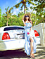 billige Kjoler-Gatemote Chiffon / Swing Blomstret Dress Kvinner Asymmetrisk Med stropper Polyester / Spandex