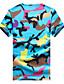 billige T-skjorter og singleter til herrer-Menn Fritid Camouflage T-skjorte,Bomull / Polyester Kortermet-Blå / Grønn