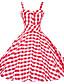 baratos Vestidos Femininos-Mulheres Tamanhos Grandes Vintage Bainha / balanço Vestido - Frente Única, Quadriculada Com Alças Altura dos Joelhos